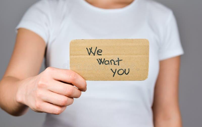 Nous vous voulons pour le travail que vous aimez image stock
