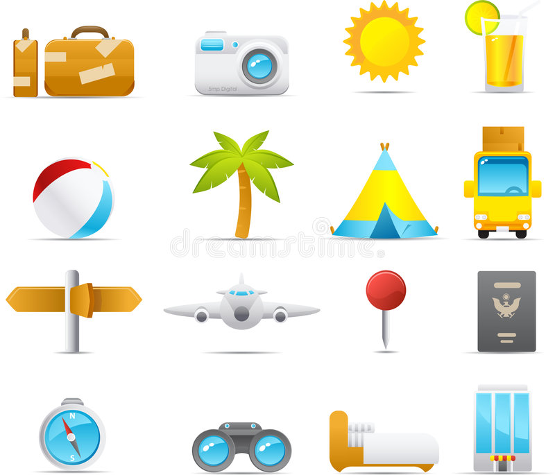 Nouve Icon Set: Holiday And Traveling Royalty Free Stock Image