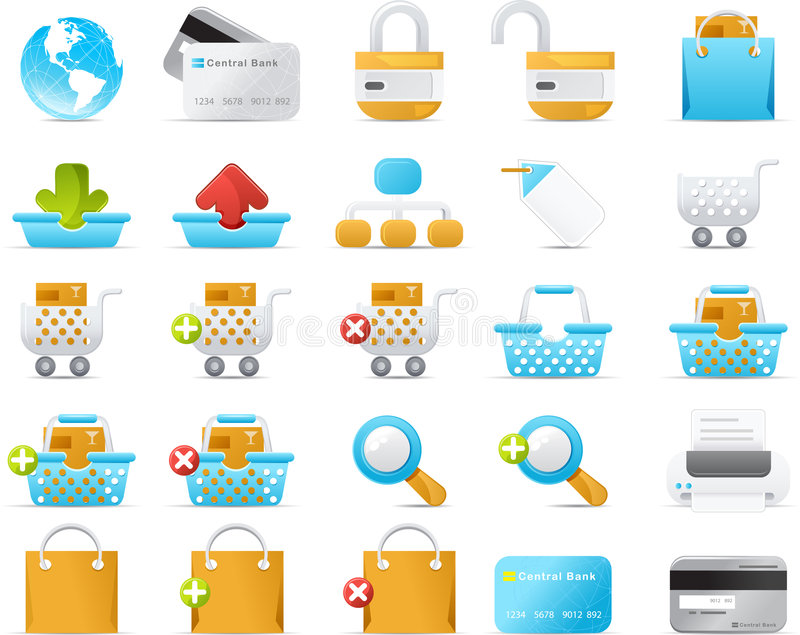 Nouve icon set: Internet and e-Commerce. Nouve icons. Internet and e-Commerce icon graphics stock illustration