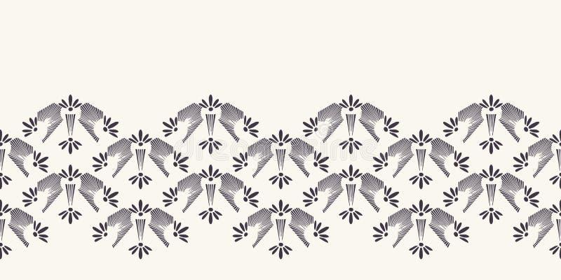 Nouveau装饰花主题边界 Jugendstil样式丝带修剪 减速火箭的花卉锦缎纺织品磁带 装饰艺术工艺 皇族释放例证