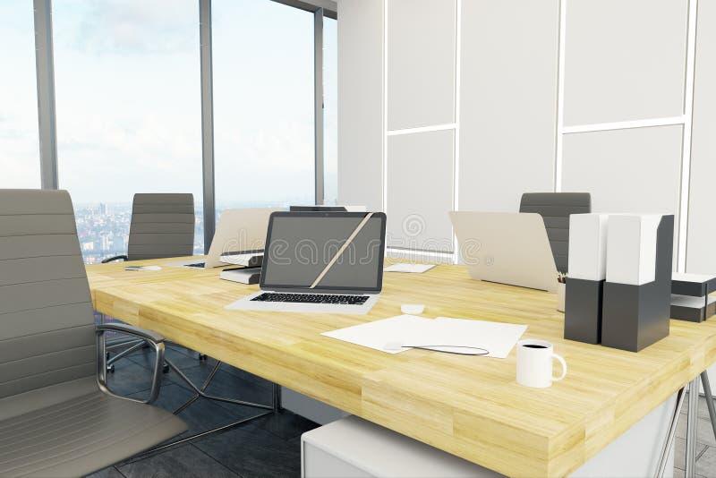 Nouveau bureau avec l'ordinateur portable vide illustration de vecteur