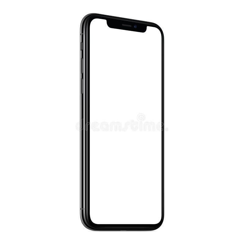 Nouveau CCW moderne de maquette de smartphone légèrement tourné d'isolement sur le fond blanc photographie stock libre de droits
