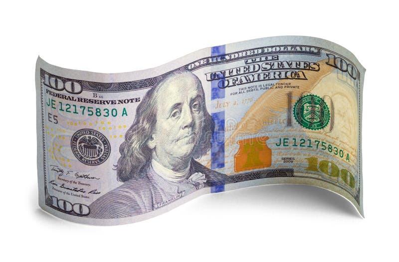 Nouveau cent billet d'un dollar courbé photo stock