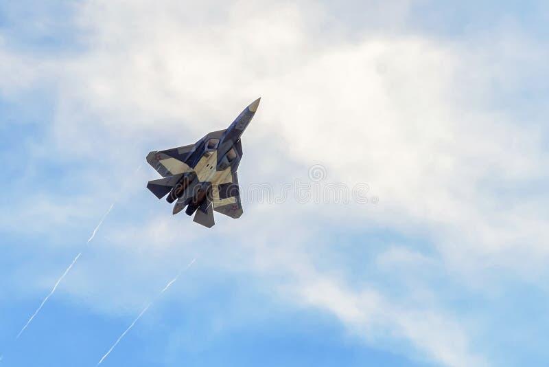 Nouveau combattant de cinquième génération russe T-50 (Sukhoi PAK fa) images libres de droits