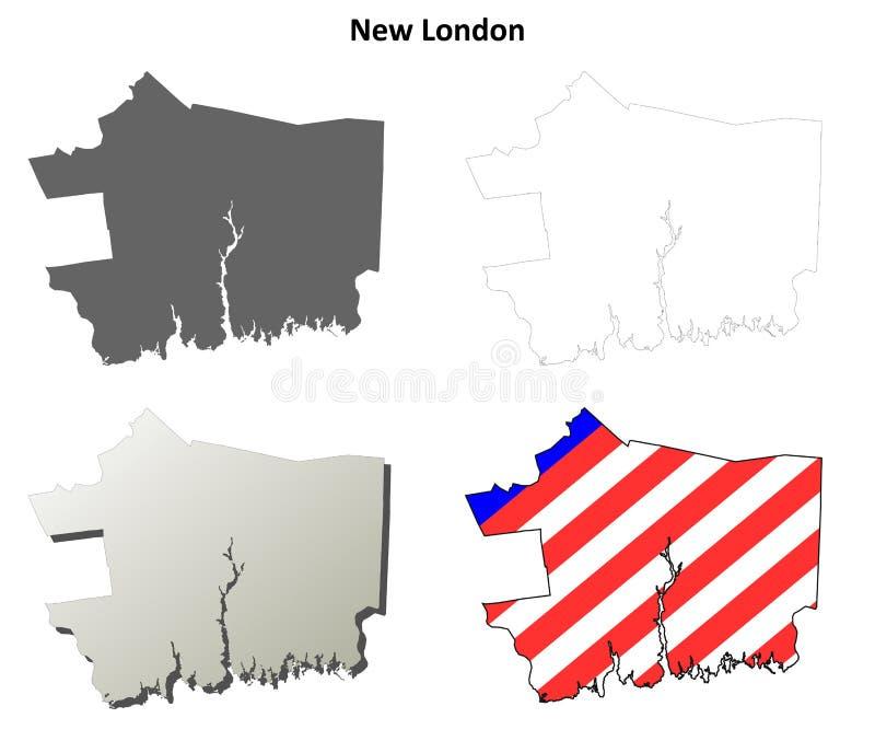 Nouveau comté de Londres, ensemble de carte d'ensemble du Connecticut illustration stock