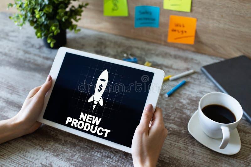Nouveau concept d'entreprise de développement de produits sur l'écran de l'appareil photo stock
