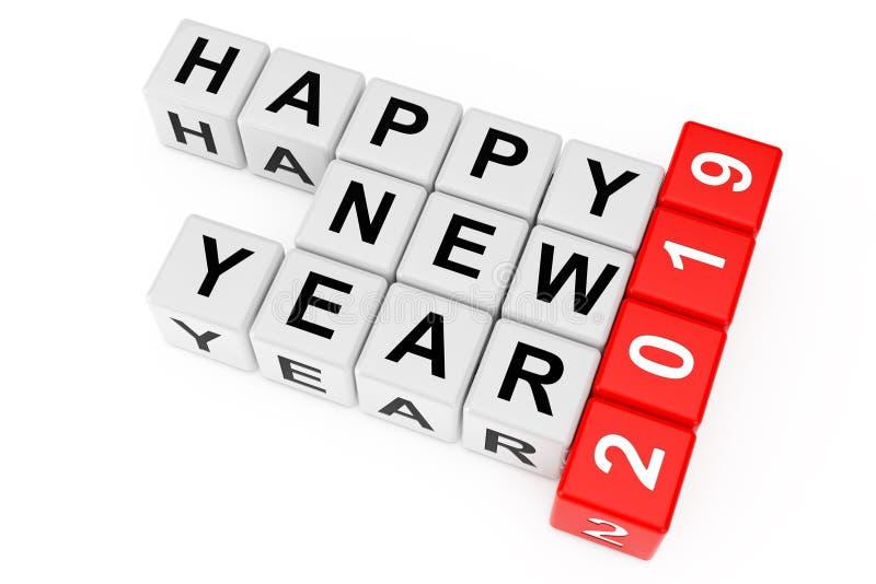 Nouveau concept de 2019 ans Signe de la bonne année 2019 comme mots croisé Blo illustration de vecteur