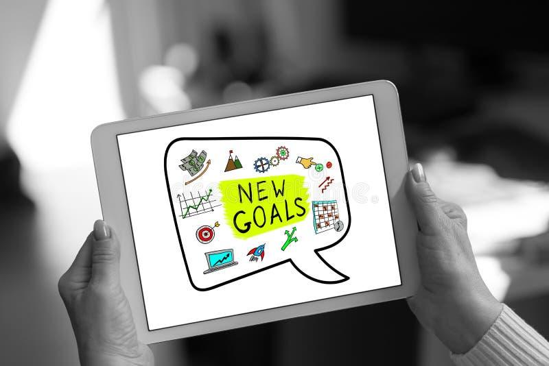 Nouveau concept de buts sur un comprimé image stock