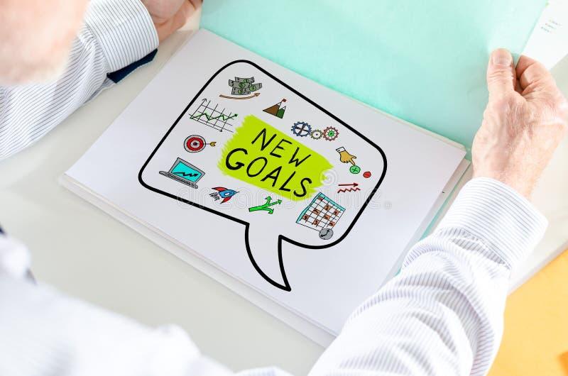 Nouveau concept de buts sur un papier image libre de droits