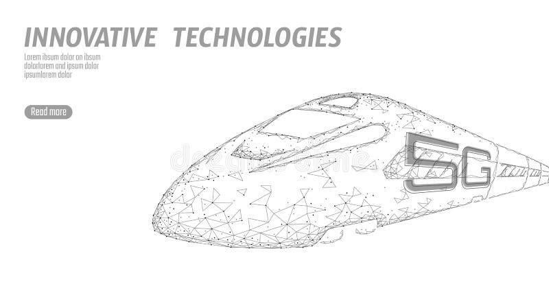 nouveau concept sans fil de wifi d'Internet du rail 5G ultra-rapide Plus haut train ferroviaire rapide global Bas poly blanc gris illustration libre de droits