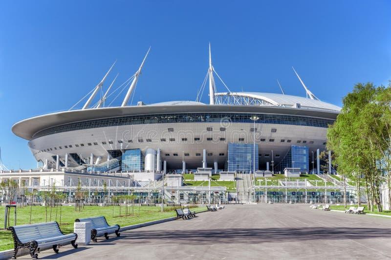 Nouveau ` d'arène de St Petersburg de ` du football sur l'île de Krestovsky à St Petersburg pour la coupe du monde 2018 photo libre de droits
