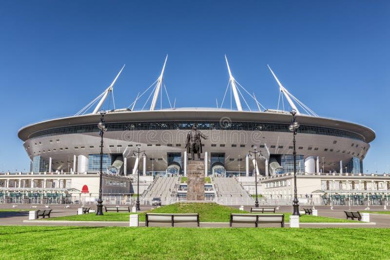 Nouveau ` d'arène de St Petersburg de ` du football sur l'île de Krestovsky à St Petersburg pour la coupe du monde 2018 photos stock