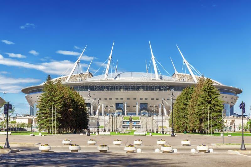 Nouveau ` d'arène de St Petersburg de ` du football sur l'île de Krestovsky à St Petersburg pour la coupe du monde 2018 images stock