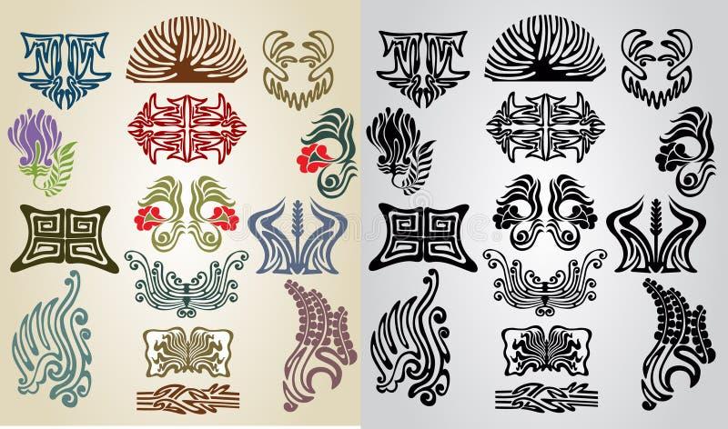 Nouveau da arte da coleção do teste padrão do elemento ilustração do vetor