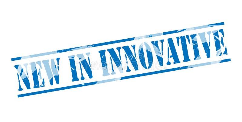 Nouveau dans le timbre bleu innovateur illustration stock