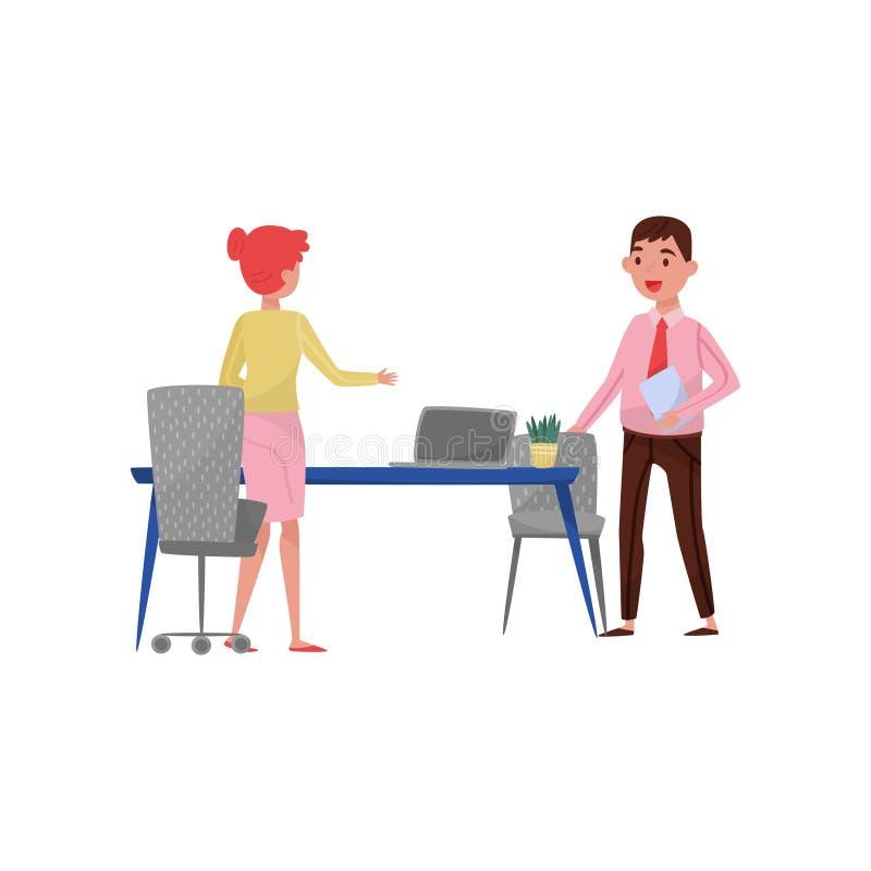 Nouveau demandeur masculin des employés et réunion de directeur d'heure au bureau, illustration de vecteur de concept de recrutem illustration stock