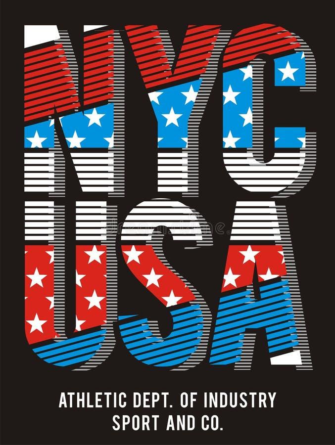 02 Nouveau drapeau de ville de Yorj de typographie, vecteur illustration libre de droits