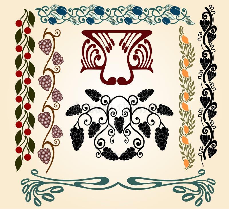 nouveau för konstfruktdruvor royaltyfri illustrationer