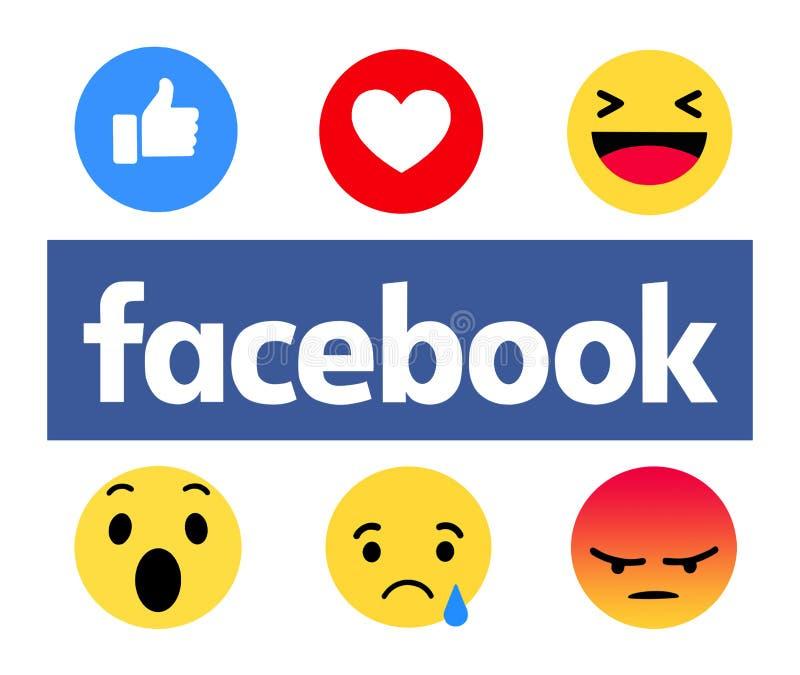 Nouveau Facebook aiment le bouton 6 Emoji compréhensif illustration de vecteur