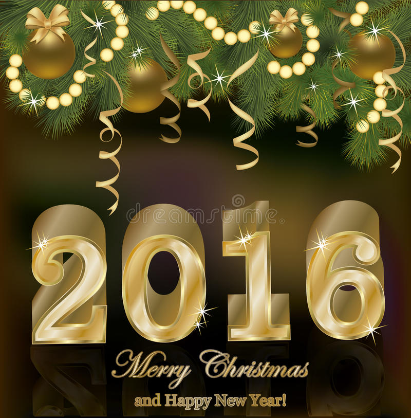 Nouveau fond d'or heureux de 2016 ans illustration libre de droits