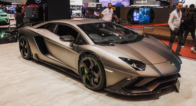 Nouveau Lamborghini Centre d'exposition à Genève en 2019 image stock