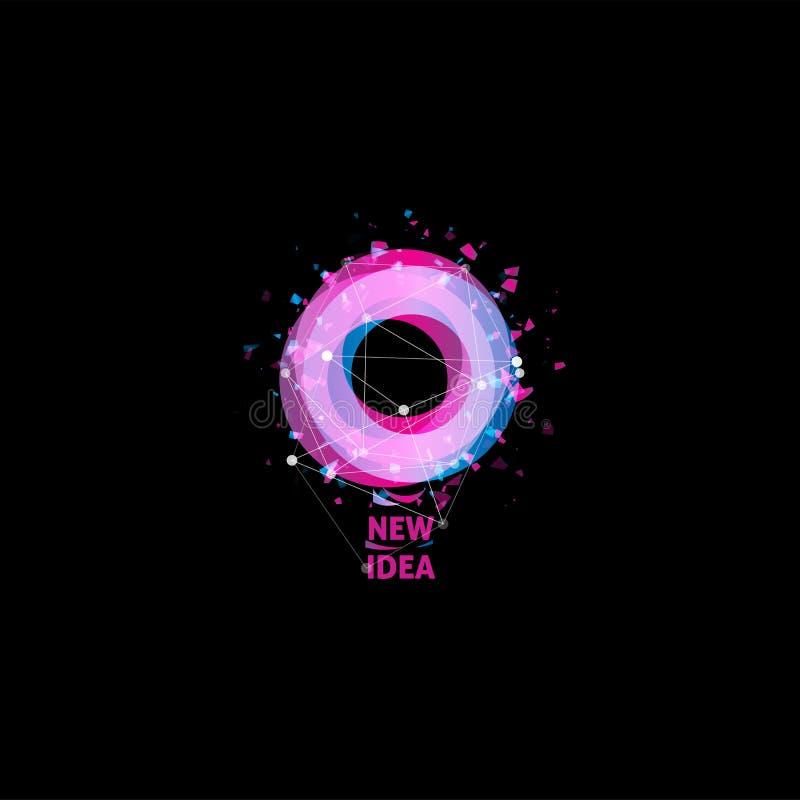 Nouveau logo d'idée, icône de vecteur d'abrégé sur ampoule Forme ronde d'isolement de couleur rose et bleue, lampe stylisée avec  illustration libre de droits
