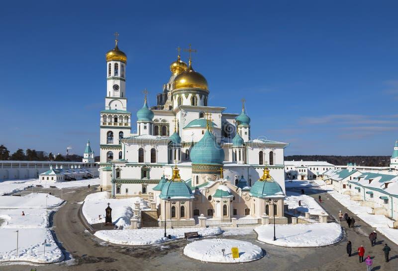 Nouveau monastère stauropegial de Jérusalem de résurrection en ville Istra, région de Moscou photographie stock libre de droits