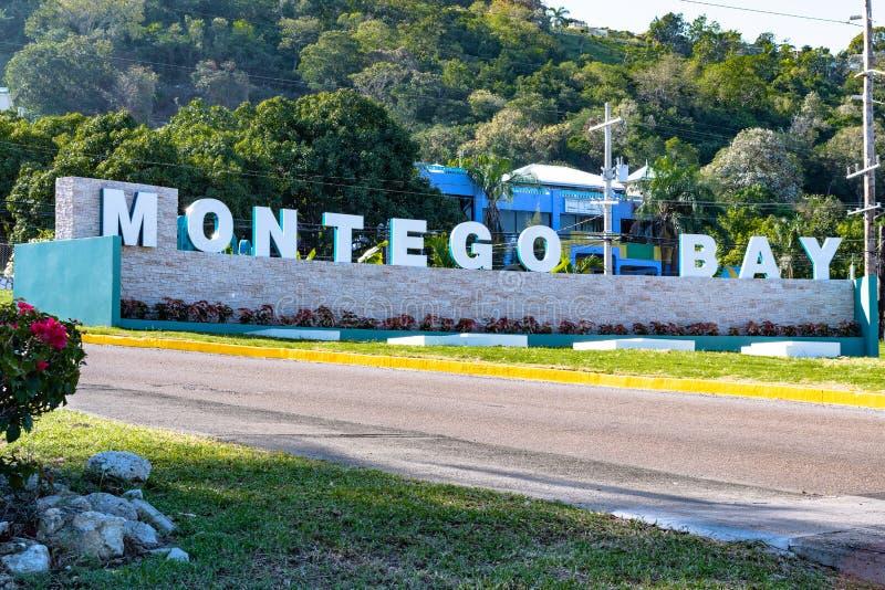Nouveau Montego Bay signent dedans la Jama?que image stock