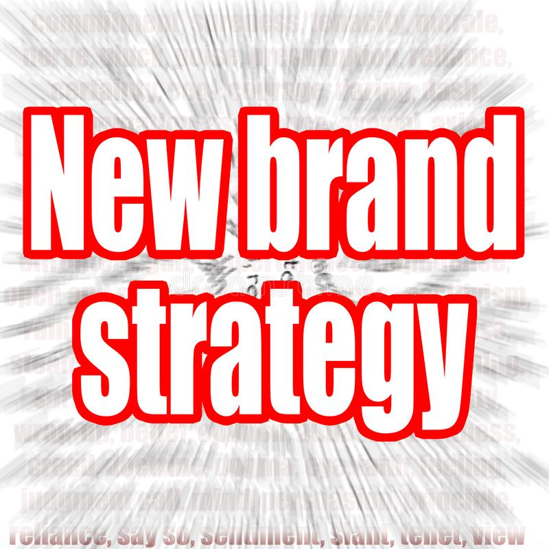 Nouveau mot de stratégie de marque avec le bourdonnement en effet comme fond illustration de vecteur