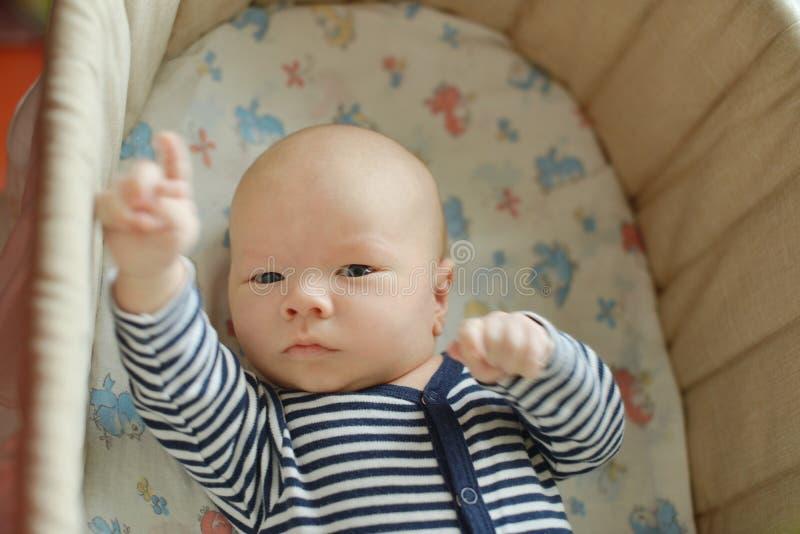 Nouveau-né dans la huche photos stock