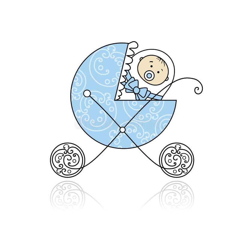 Nouveau-né dans la poussette de chéri pour votre conception illustration stock