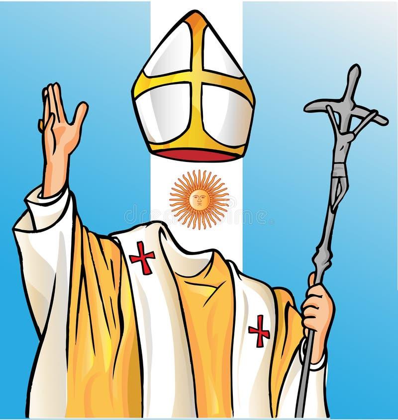 Nouveau pape avec le drapeau de l'Argentine illustration stock