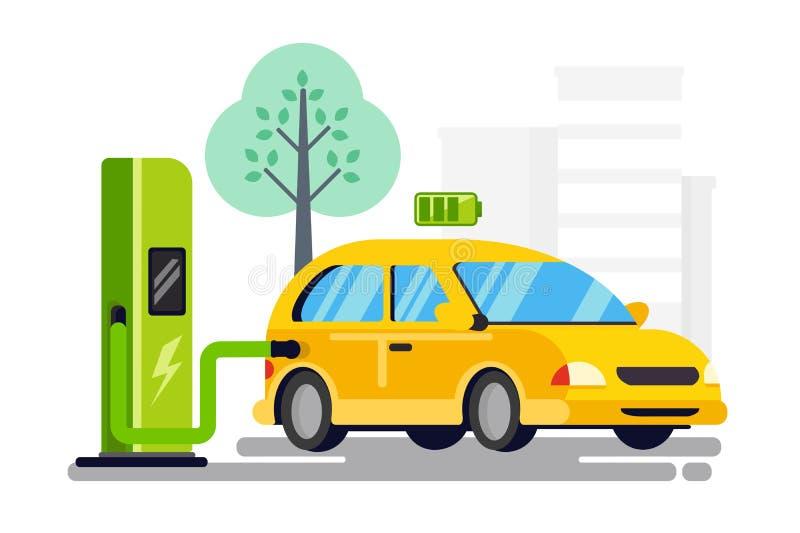 Nouveau ravitaillement pour la voiture électrique illustration de vecteur