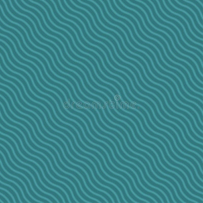 Nouveau schéma diagonal vague répétant le modèle Courbe sans couture de l'eau avec des couleurs bleues modernes de tendance pour  illustration de vecteur