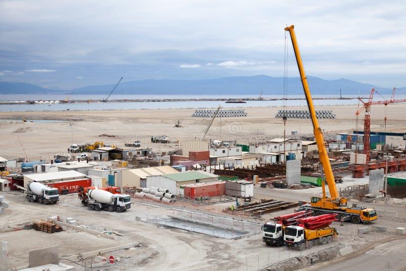 Nouveau secteur de terminaux en construction dans le port Tanger Med 2 images libres de droits