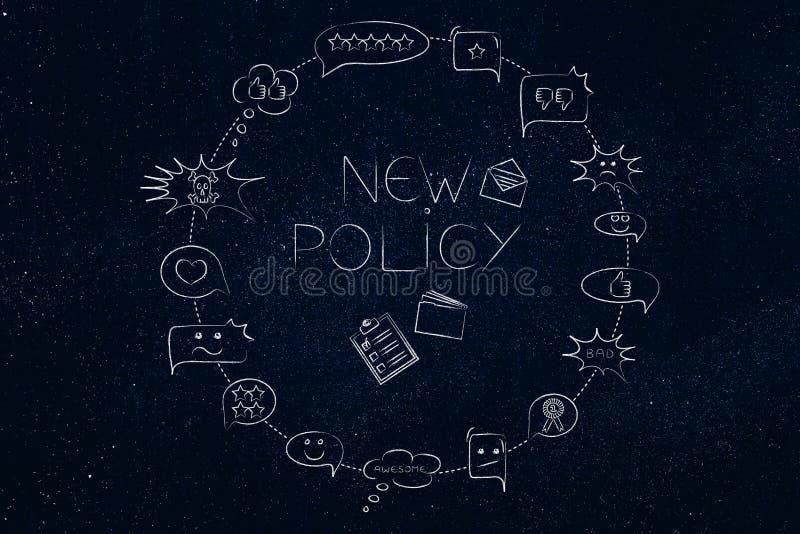 Nouveau texte de politique de l'entreprise entouré par les bulles comiques avec le feedbac illustration stock