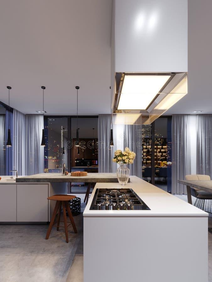 Nouveaux appareils de cuisine dans une cuisine moderne, un capot suspendu et un a illustration stock