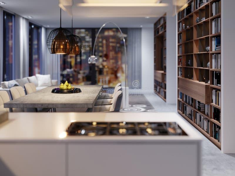 Nouveaux appareils de cuisine dans une cuisine moderne, un capot suspendu et une nouvelle surface à cuire illustration libre de droits