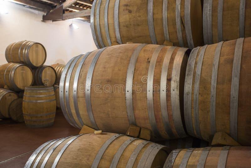 Nouveaux barils pour le vin vieillissant images stock