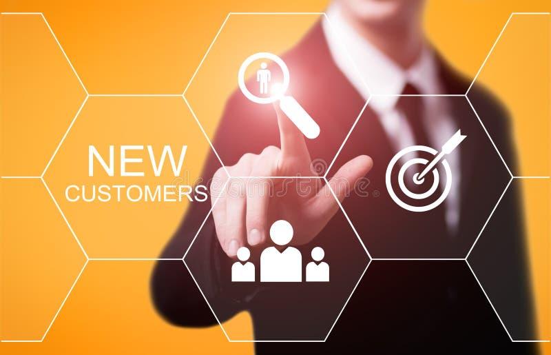 Nouveaux clients faisant de la publicité le concept de technologie d'Internet d'affaires de vente images libres de droits