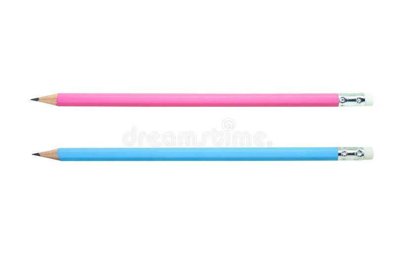 Nouveaux crayons bleus et roses d'isolement sur le fond blanc images libres de droits