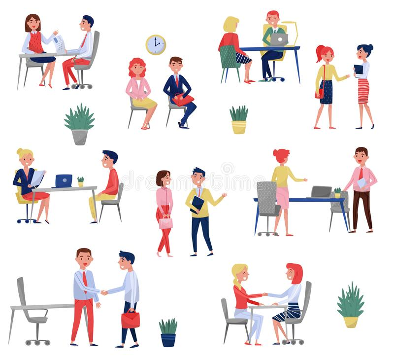 Nouveaux demandeurs des employés ayant l'entrevue d'emploi avec les spécialistes en heure réglés, illustrations de vecteur de con illustration de vecteur