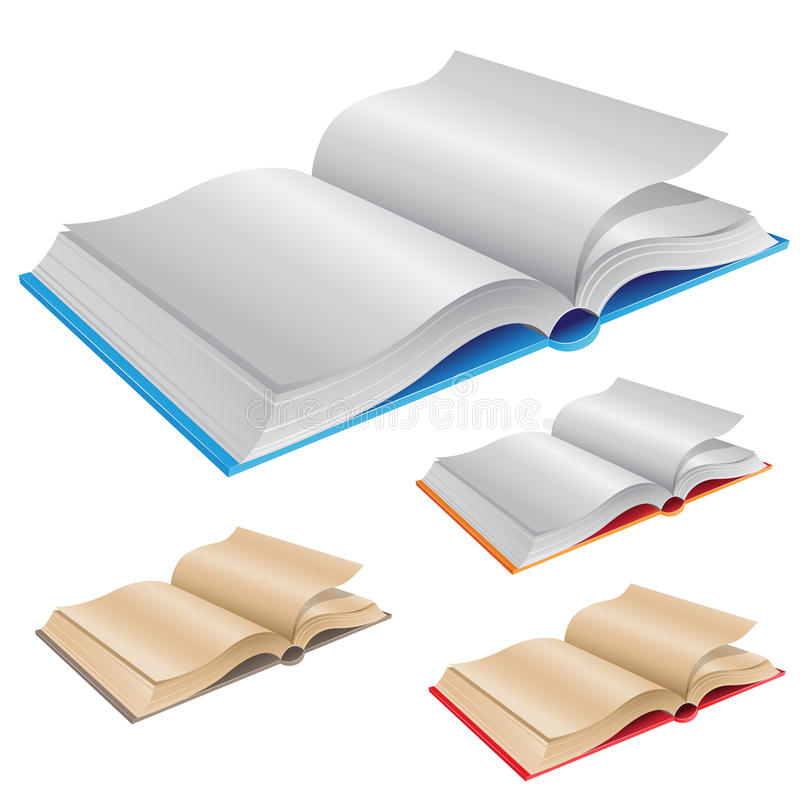 Nouveaux et vieux livres ouverts illustration de vecteur