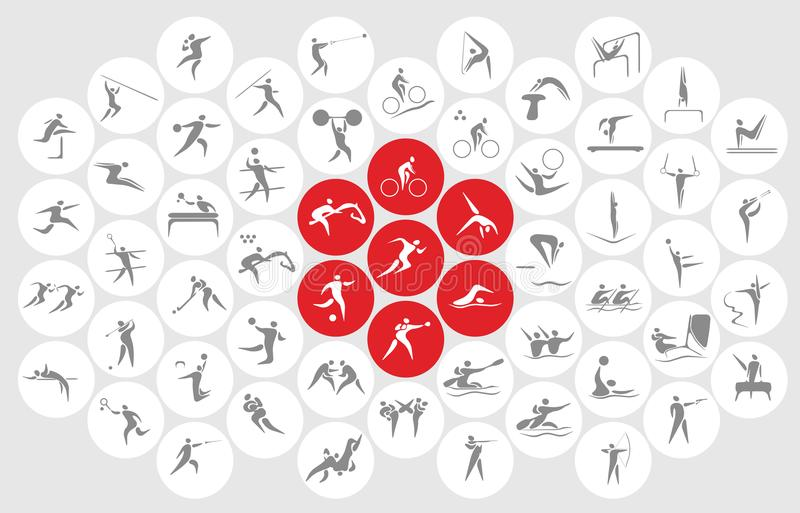 Nouveaux icônes de sports et symboles de sports illustration stock