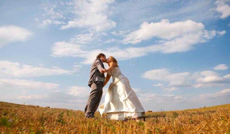Nouveaux mariés dans le domaine photos stock