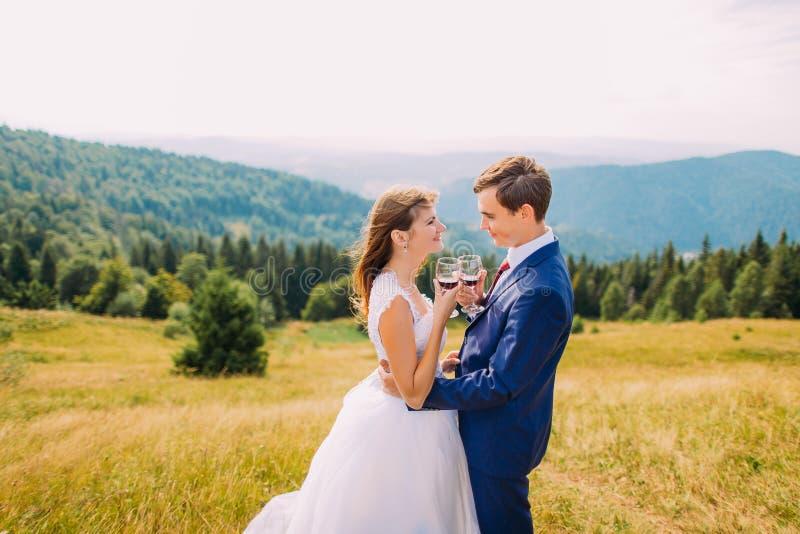 Nouveaux mariés gais buvant du vin dehors, célébrant leur mariage Forest Hills étonnant comme fond images libres de droits