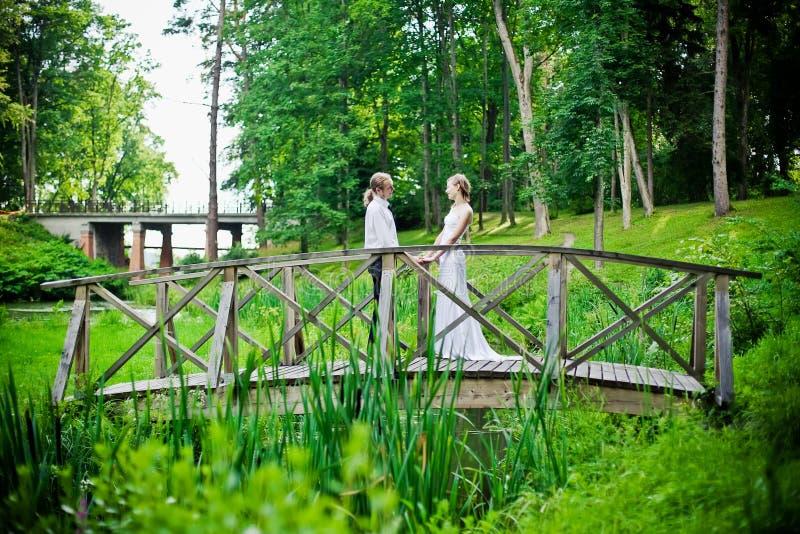Nouveaux mariés sur une passerelle images libres de droits