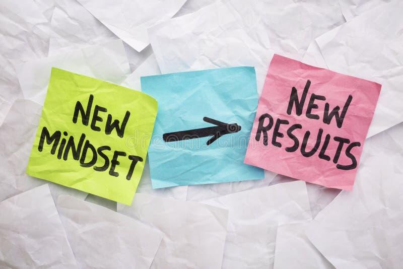 Nouveaux mentalité et résultats images stock