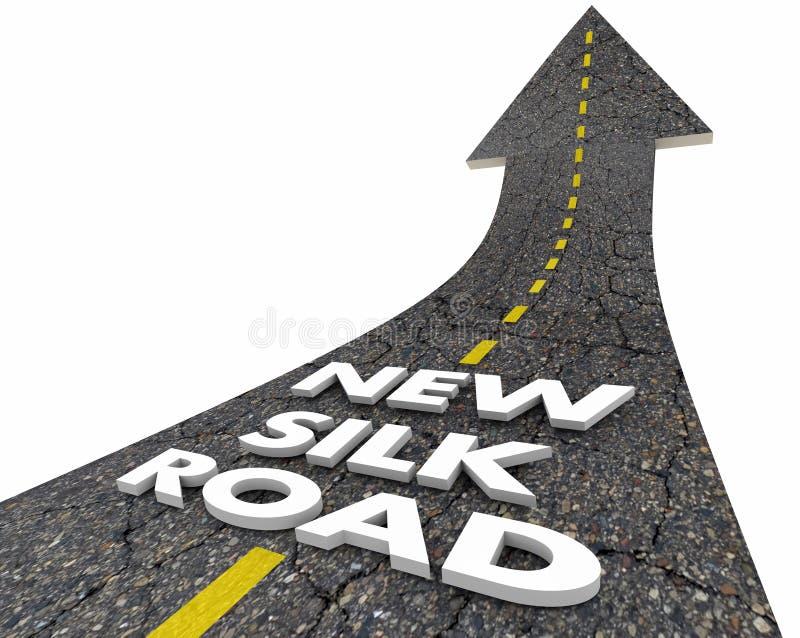 Nouveaux mots d'itinéraire commercial de la Chine Asie de route en soie illustration de vecteur