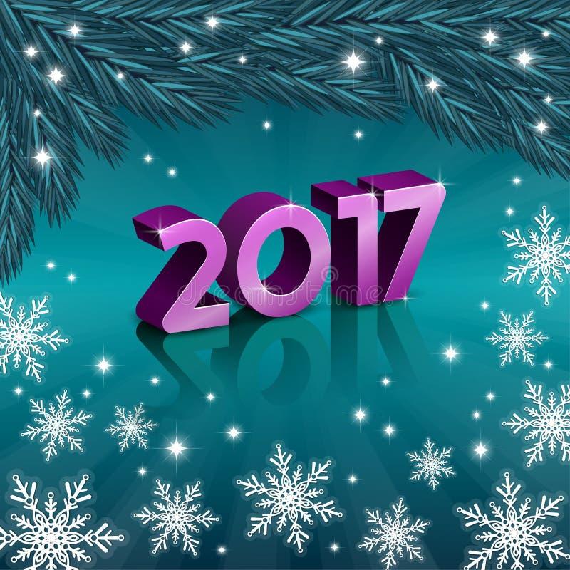 Nouveaux nombres de 2017 ans avec des flocons de neige photo stock